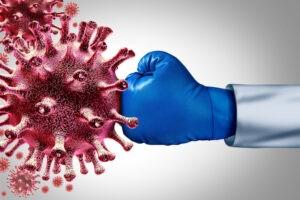 Boxer schlägt ein Virus